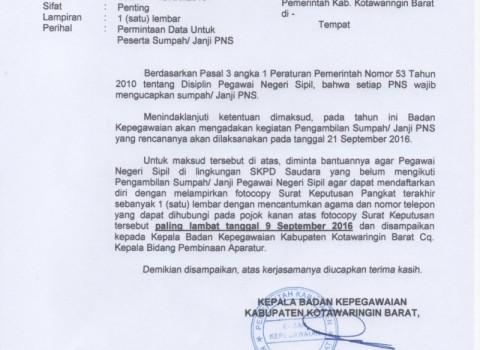 Permintaan Data Sumpah Janji PNS 2016